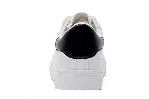 AgooLar Damen Mikrofaser Niedriger Absatz Schnüren Gemischte Farbe Pumps Schuhe Schwarz