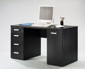 Escrivaninha 4 Gavetas 1Porta Function Pls Preto Textura 145X60X76,4H