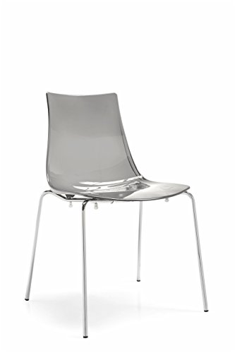 Calligaris Dining Chairs - Connubia LED Chair - Steel Stained Chromed Frame - Styren Acrylonitrile Transparent Smoke Grey Seat