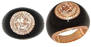 18 Kt Rose Gold Plated Black Enamel American Diamond Ring [Trb011]