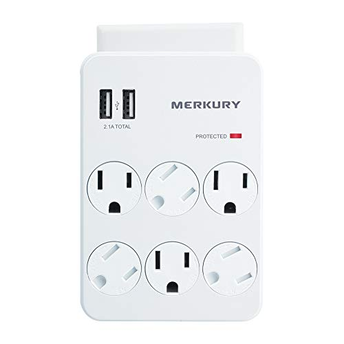 Merkury Innovations 6 Outlet Wall Mount Adapter Surge Protector with Dual USB Ports, Multi Plug Outlet Extender USB…
