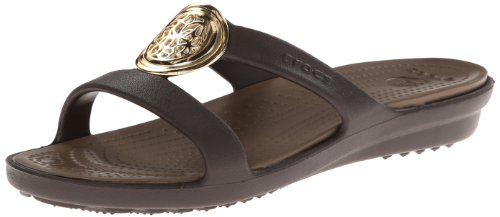 Crocs Womens Women's Sanrah Circle Dress Sandal,Espresso/Walnut,11 M US