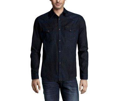Chemise LEE.en jean coupe droite bleu marine denim brut. Réf. L643AFPX