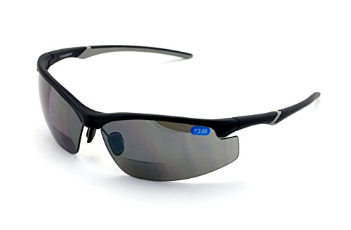 V.W.E. Rx-Bifocal High Performance Protective Safety Glasses Light Mirror Tint Bifocal - Sun Reader - Sunglasses Ansi Z87.1 (Matte Black, - Sunglasses W/bifocals