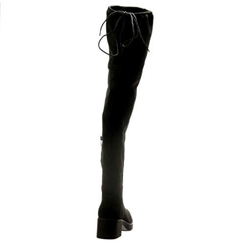 Angkorly - Chaussure Mode Cuissarde Botte sexy souple femme Talon haut bloc 5 CM - Noir