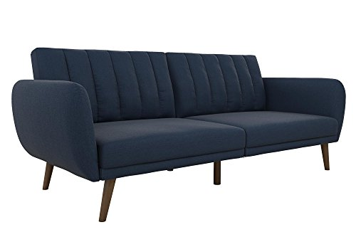 Novogratz Brittany Sofa Futon - Premium Upholstery and Wooden Legs - Navy Blue - Stylish linen upholstery wipes clean easily Ribbed tufted cushioned back with slanted oak coloured wooden legs Sturdy wood frame construction that is stable and durable.Weight Limit  600 Pounds - sofas-couches, living-room-furniture, living-room - 31WHUvYgg1L -