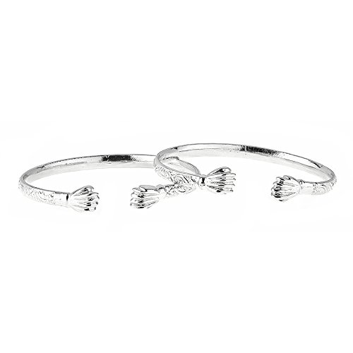 - Fist Ends .925 Sterling Silver West Indian BABY Bangles 27.0 Grams (Pair) (MADE IN USA)