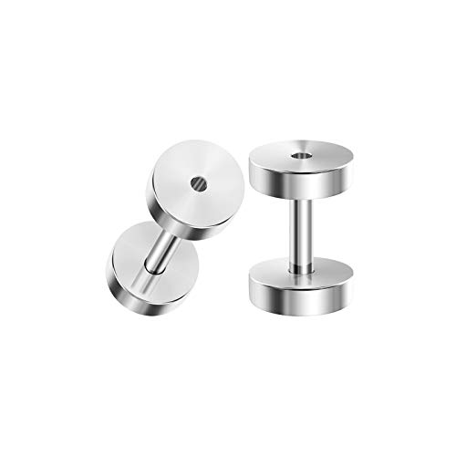Stainless Steel Flesh Tunnel - BIG GAUGES Pair of Polished Stainless Steel 14g Gauge 1.6mm Screw Flesh Tunnels Piercing Jewelry Stretcher Ear Ring Lobe Plugs BG3786