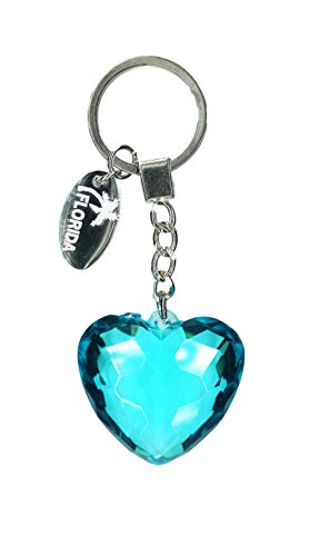 Heart Chain Dangle - Diamond Heart Crystal Keychain With Florida Dangle Charm, Blue