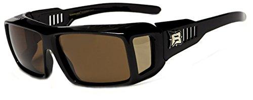 Hillcrusher Mens Fits 61mm Over Prescription Glasses Hiking Polarized Sunglasses (Black, Amber)