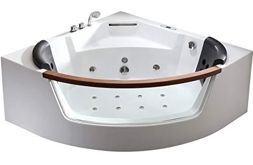 EAGO AM197ETL 5' Clear Rounded Corner Acrylic Whirlpool Bathtub for Two, White