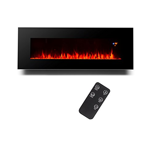 3g plus 50″ electric fireplace wall mounted heater crystal stone