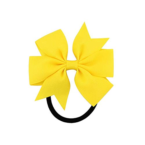 DHmart Fashion 1pc Colorful Ribbon Bow Elastic Hair Bands 20 Colors Cute Rope Hair Accessories Gift - Braid Yellow Earrings