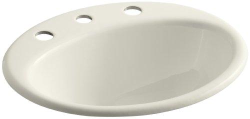KOHLER K-2905-8-96 Farmington Self-Rimming Bathroom Sink, Biscuit