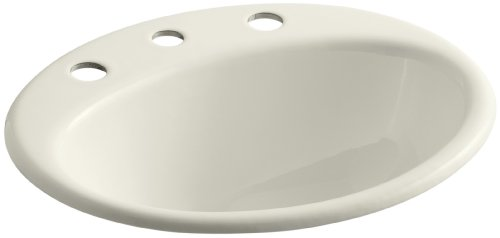 KOHLER K-2905-8-96 Farmington Self-Rimming Bathroom Sink, Biscuit
