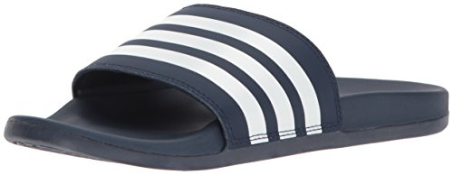 Shoe Flat Stripe Blue Navy (adidas Women's Adilette CF+ Stripes W Famous Slide Sandal, White/Collegiate Navy, 5 M US)