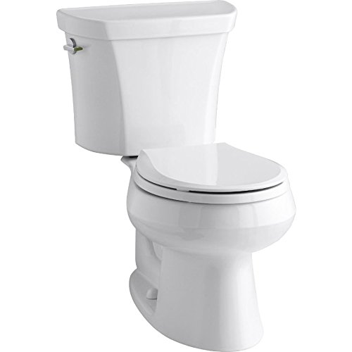 worth Two-Piece Round-Front Dual-Flush Toilet with Class Five Flush System and Left-Hand Trip Lever, White (Wellworth Two Piece Toilet)