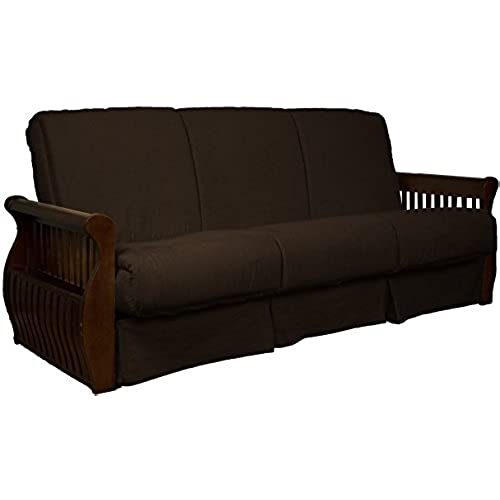 Bon Laguna Perfect Sit U0026 Sleep Pocketed Coil Inner Spring Pillow Top Sofa  Sleeper Bed, Full Size, Walnut Arm Finish, Microfiber Suede Chocolate Brown  Upholstery