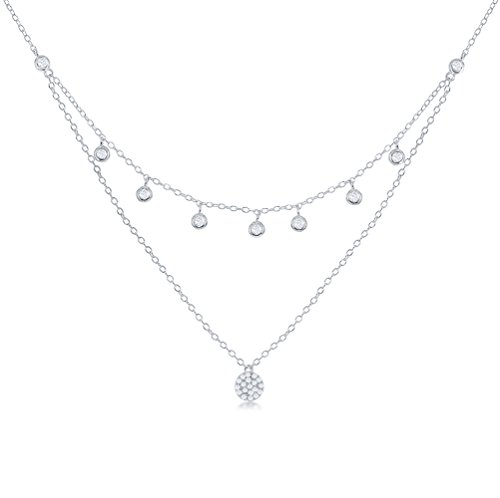 Dangling Pave Necklace (Sterling Silver Dangling Bezel-Set Cubic Zirconia with Micro Pave Cubic Zirconia Disc Double Strand 16+2