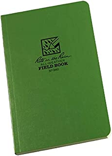"""product image for Rite In The Rain Weatherproof Tactical Field Notebook, 4 5/8"""" x 7"""", Green Cover, Universal Pattern with Reference Materials (No. 980), One Size (980L)"""