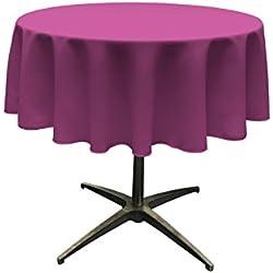 "LA Linen Polyester Poplin Round Tablecloth, 58"", Magenta"
