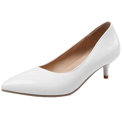 COOLCEPT Zapatos Mujer Moda Sexy Mini Tacon Bombas Zapatos for Fiesta Boda Vestir Blanco