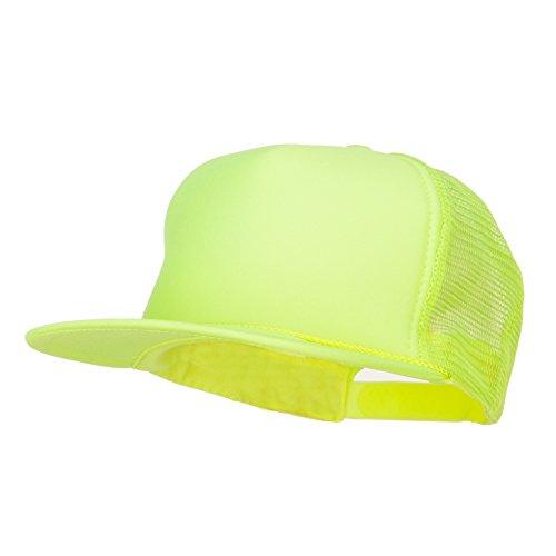 - 5 Panel Neon Color Poly Mesh Cap - Neon Yellow
