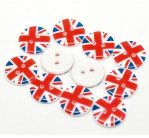 (JumpingLight Pkg of 10 UK Union Jack 2-Hole Resin Buttons 3/4