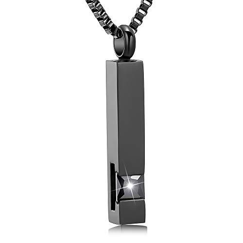 XSMZB Crystal Cremation Urn Jewelry Cube Memorial Ashes Necklace Pendant Keepsake- Black Birthstone Serise(Black)
