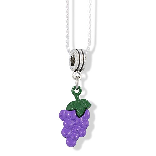 Purple Snake Pendant - EPJ Grapes with Green Stem Charm Snake Chain Necklace (Purple)