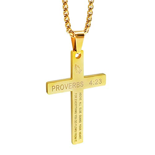(CHOOOICE Gold Necklace Religious Bible Verse Pendant Catholic Faith Jewelry with 23'Chain)