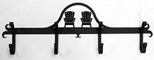 Iron Coat Rack-Towel Rack Bar Adirondack Chair - 24' Heavy Duty Metal Coat Hooks - Hat Rack, Coat Rail Or Garmet Rack