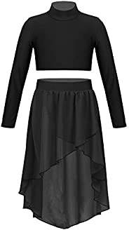 JEATHA Kids Girls 2Pcs Chiffon Lyrical Dance Dress Mock Neck Crop Top +High Low Elastic Waistband Skirt Set Ou