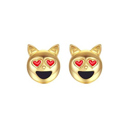 - jinjiu Dog Head Emoji Ear Stud Women Simple Small Earrings with Screw on Backs (Gold)