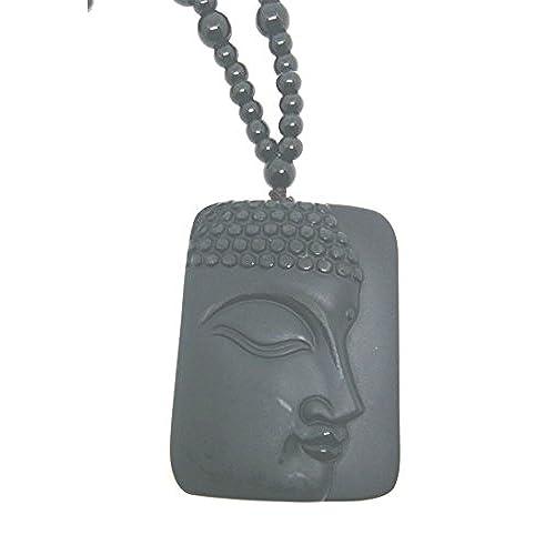 a69cf63808e5 Natural negro Obsidiana Avalokitesvara lado Buda colgante Abalorios Collar Durable  Modelando