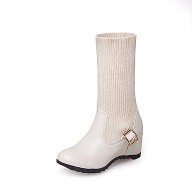 Heart&M Damen Stiefel Walking Komfort Gladiator Schneestiefel Modische Stiefel Stiefeletten Slouch Stiefel Leuchtende Sohlen formale SchuheLeder beige