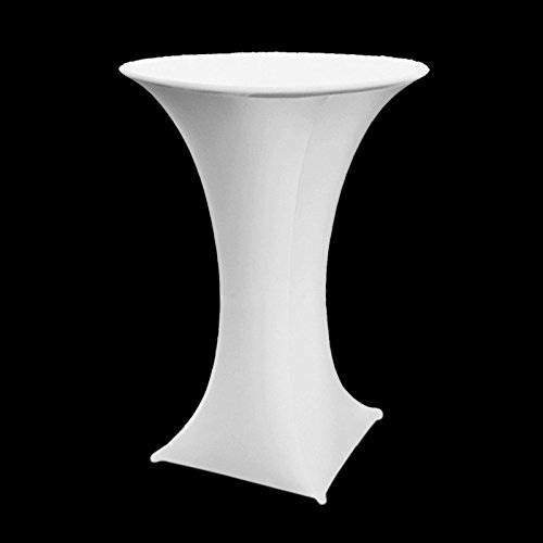 24' High Round Table (Vlovelife White 60cm Lycra Stretch Cocktail Poseur Dry Bar Spandex Table Cover Round Table Cloth Wedding Party Event Decoration)