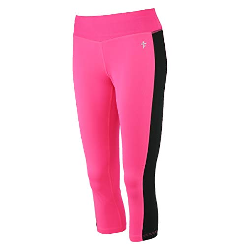(TruFit Women's Fitness Capri Leggings w/Mesh Stripe Pink Sizzle/Black M)