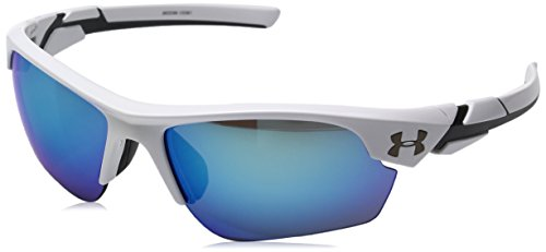 Under Armour Wrap Sunglasses, UA WINDUP Shiny White/Charcoal Frame/Gray/Blue MULTFLECTION Lens, YOUTH (Sunglasses Amour Under)