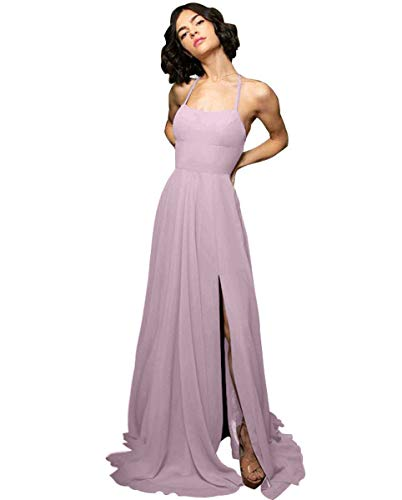 Women's Halter Chiffon Bridesmaid Dresses Long A-Line Side Split Evening Prom Gown with Pockets Dusty Rose Size 2 ()