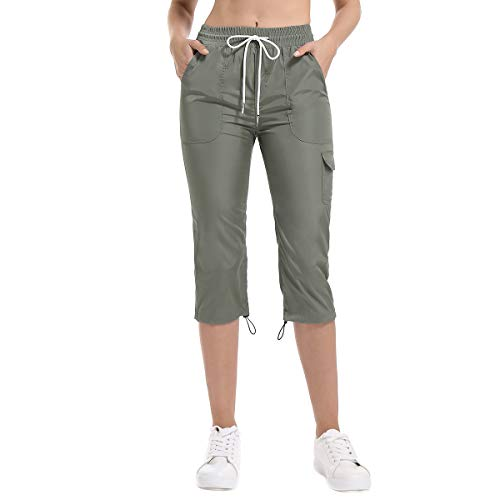(Women's Cargo Capri Pants, Drawstring Waterproof Lightweight Cropped Pants)