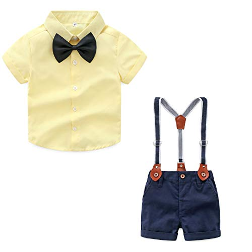 JIANLANPTT 2 Piece Baby Gentleman Outfit Boy Short Sleeve Shirt Suspender Short Pants with Bowtie Yellow ()