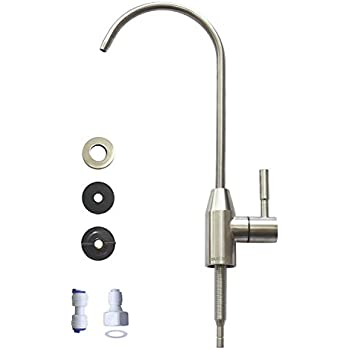 Drinking Water Faucet, Kitchen Sink Faucet Beverage Faucet for Drinking Water Purifier Filter Filtration System, 1/4-inch Tube, Lead-Free, Brushed Stainless Steel By KINGLEV