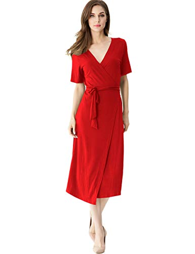 Jersey Short Sleeve Wrap Dress - Melynnco Womens Short Sleeve V Neck Boho Casual Summer Business Wrap Midi Dress Small Red