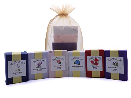 Flowery Floral Soap Gift Set Lupine Poppy Hydrangea Rose Lavender Lilac Made in Maine – Gift Packaged