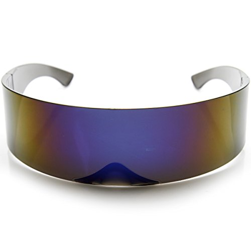 DetailsFeaturing a semi translucent mirrored lens with full UV 400 protection and pinned hinges, these monoblock wrap sunglasses are a great accessory to any futuristic costume.MeasurementsLens Height: 40 mm (1.58 in)Lens Width: 70 mm (2.76 in)Bridge...