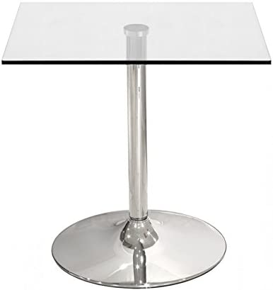 Hogar Decora Mesa Cocina Cromada sobre Cristal 80 x 80 cm: Amazon ...