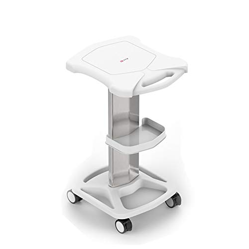 YXX- ABS Beauty Storage Instrument Cart with Tray & Wheels, Heavy Duty Styling Pedestal for Clinic/Hospital/Salon/Spa (Color : White)