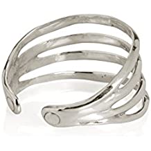 """A chic, effortless piece of Jewelry! Our shiny Silvertone """"Ribbon Cuff"""" exudes cool suave & style. Cast in lightweight Aluminum, this is the piece to wear at the beach or pool party! FREE Shipping."""