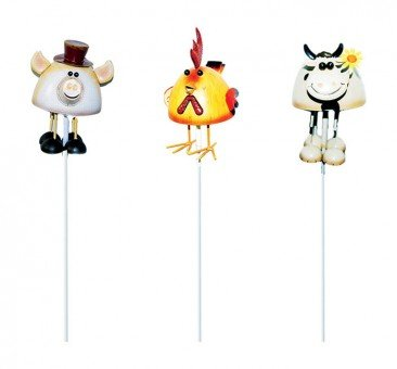 Alpine KOC122A Farm Animal Insects Garden Stake - Metal44; Assorted Display 12 by Alpine